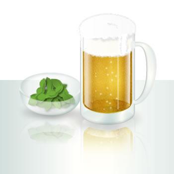 ビールと枝豆のイラスト