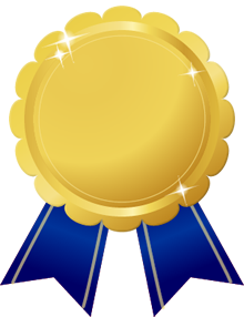 花形金メダル画像青ブルーリボン