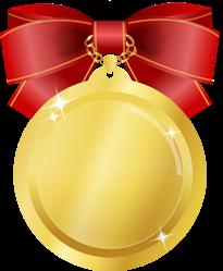 金メダルイラスト赤リボン