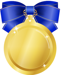 金メダルイラストブルーリボン