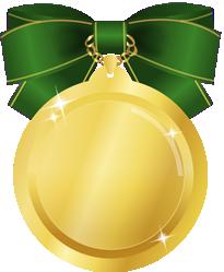 金メダルイラストグリーンリボン