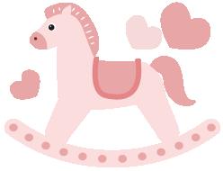 木馬のイラストピンク
