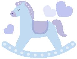 木馬のイラストブルー
