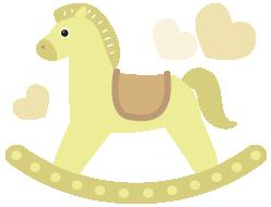 木馬のイラストイエロー