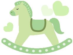 木馬のイラストグリーン