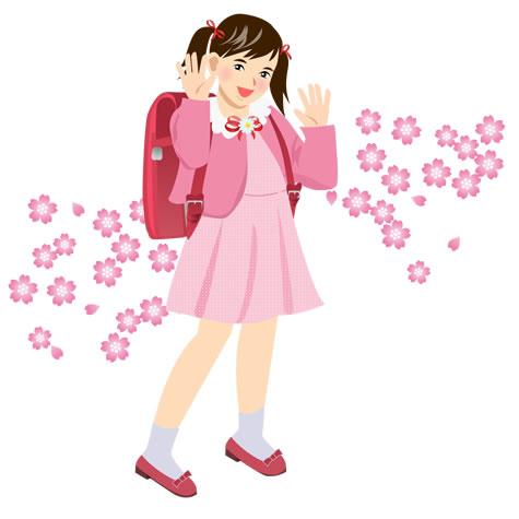 入学式ランドセルの女の子イラスト