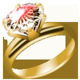 ダイヤたて爪指輪ゴールドイラスト