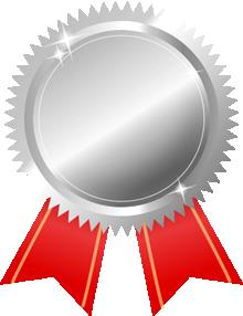 銀メダル画像赤リボン
