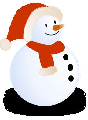 サンタ帽の雪だるまイラスト