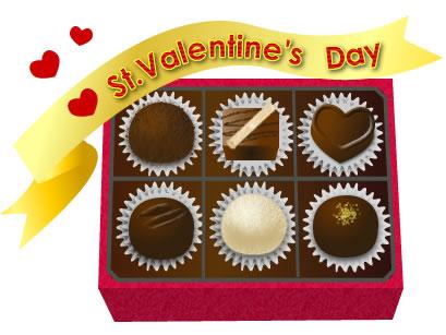 バレンタインイラスト トリュフチョコレート画像とリボン