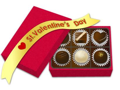 バレンタイン イラスト チョコレート画像とリボンと箱